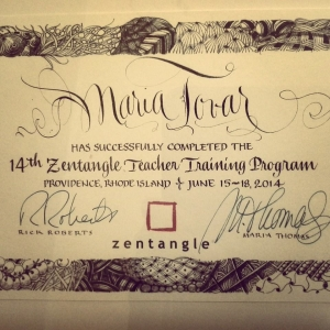 Profesora Oficial de Zentangle en España (CZT - Certified Zentangle Teacher)